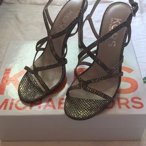 MICHAEL KORS Metallic Strappy Heels